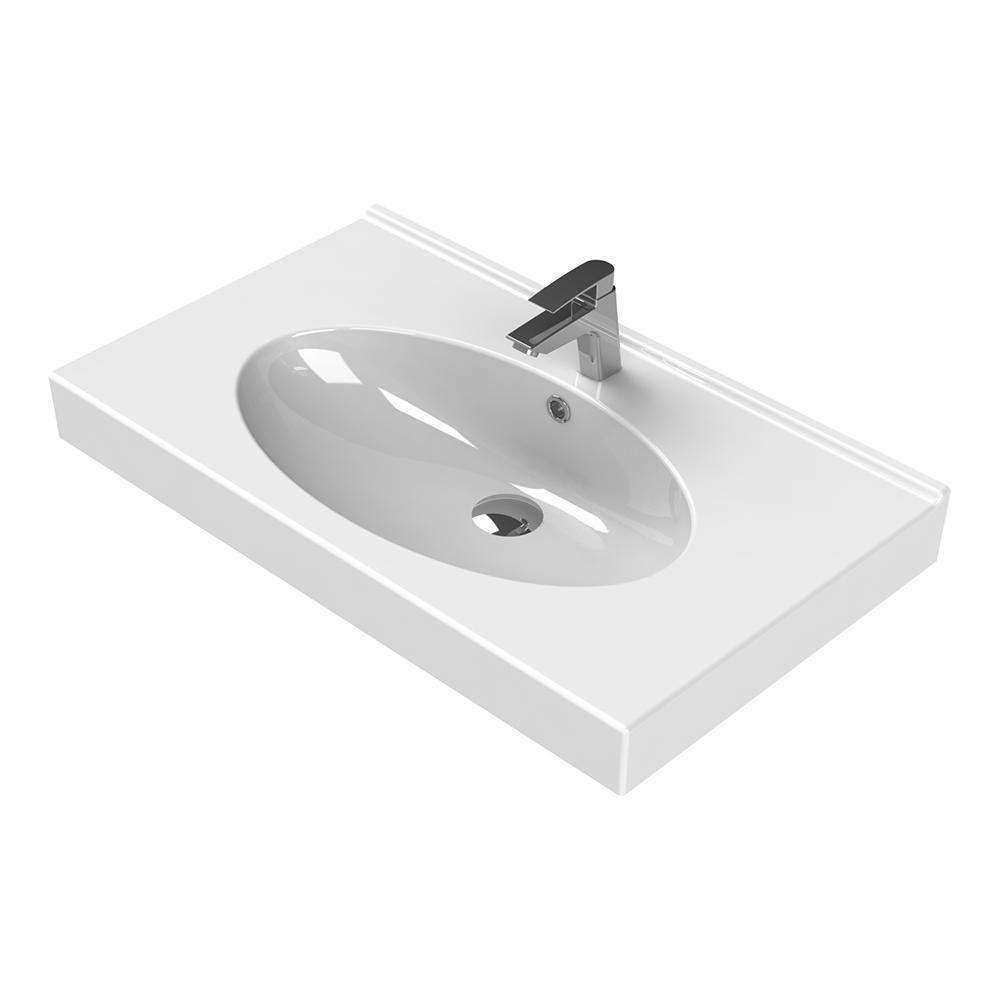 Rita Wall Mounted Bathroom Sink in White