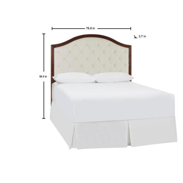 Colbridge Ivory Upholstered King Headboard With Tufting And Walnut Finish Trim 76 8 In W X 64 4 In H Xdl2015 Hb K The Home Depot