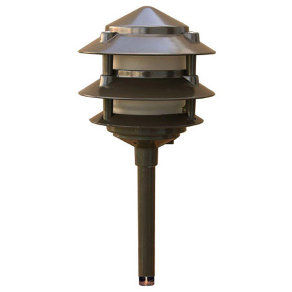Corbin 1-Light Bronze 3-Tier Outdoor Pagoda Pathway Light