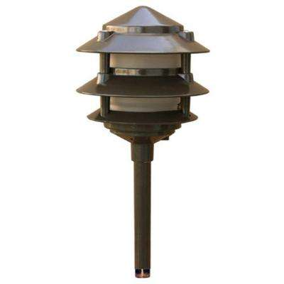 Corbin 1-Light Bronze 3-Tier Outdoor Pagoda Pathway Light