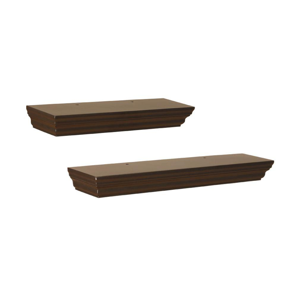 Home Decorators Collection 17.7 in. W x 3.90 in. D x 1.77 in. H Espresso Floating MDF Ledge (2-Piece)