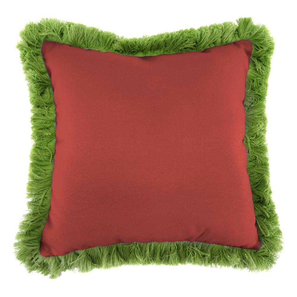 Jordan Manufacturing Sunbrella Canvas Henna Square Outdoor Throw Pillow with Gingko Fringe