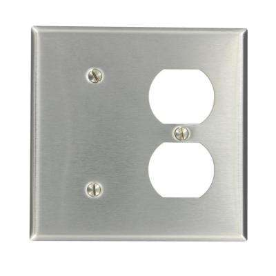 2-Gang 1-Duplex Receptacle 1 No Device Blank Standard Size Stainless Steel Combination Wall Plate, Stainless Steel