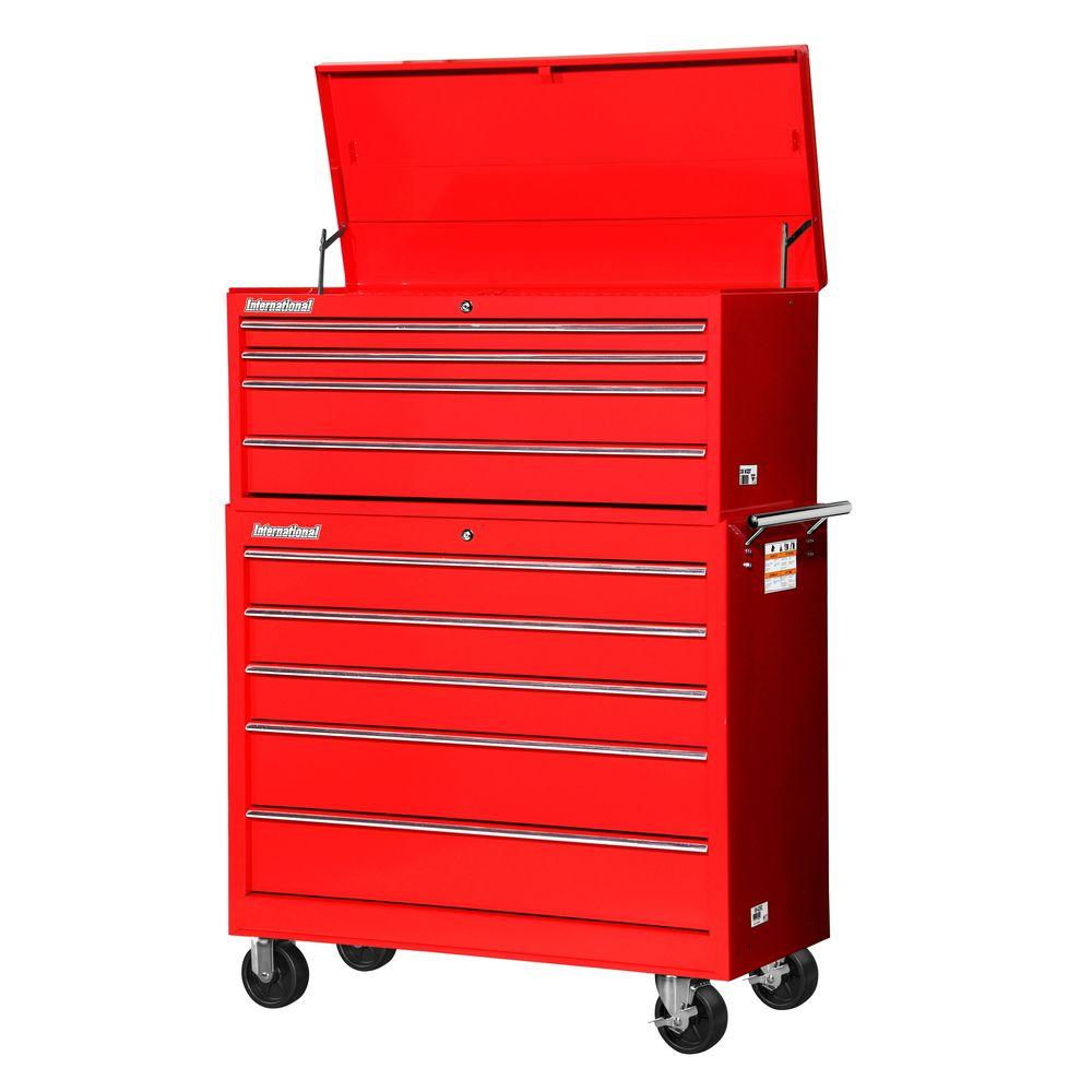 International Workshop 42 in. 9-Drawer Tool Set, Red