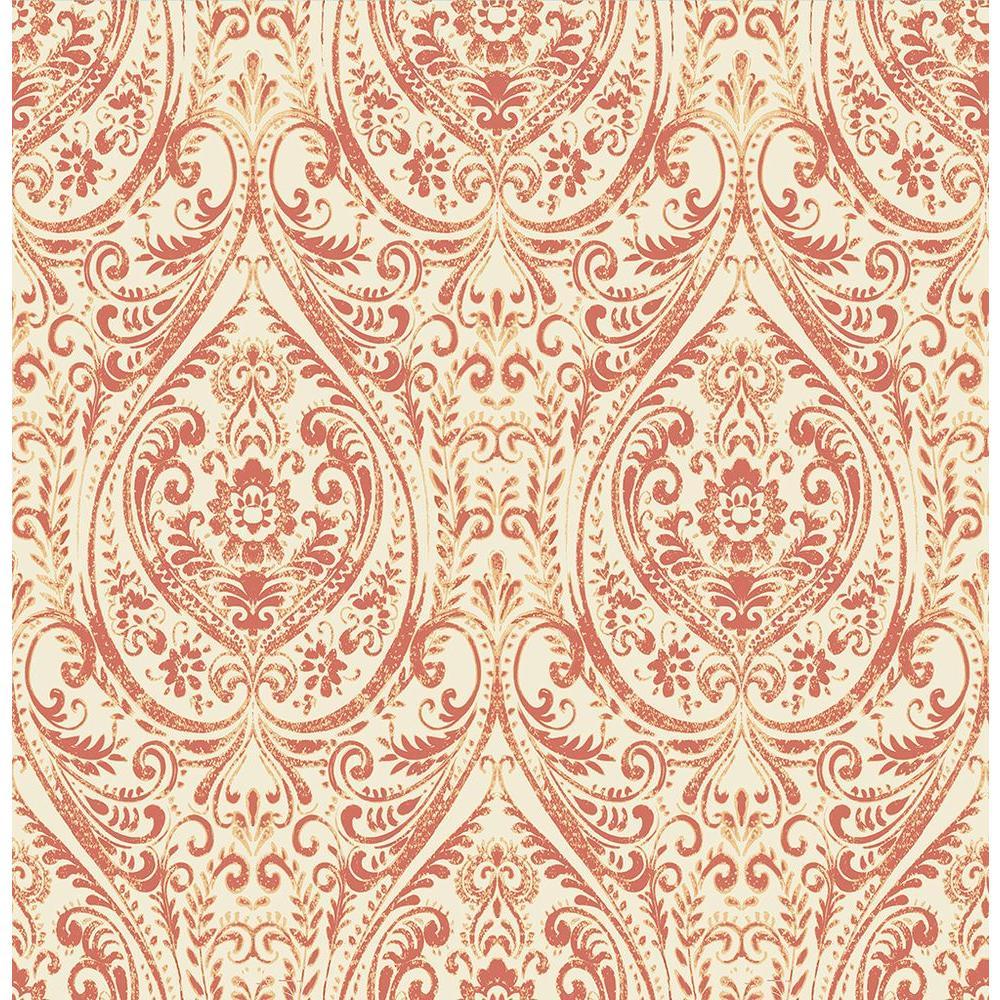 A Street Gypsy Coral Damask Wallpaper Sample
