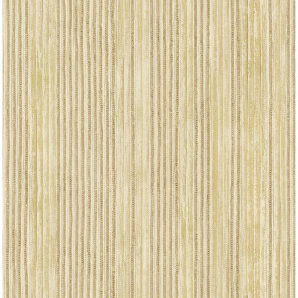 Seabrook Designs Newbury Metallic Gold and Greige Striped Wallpaper LD80405