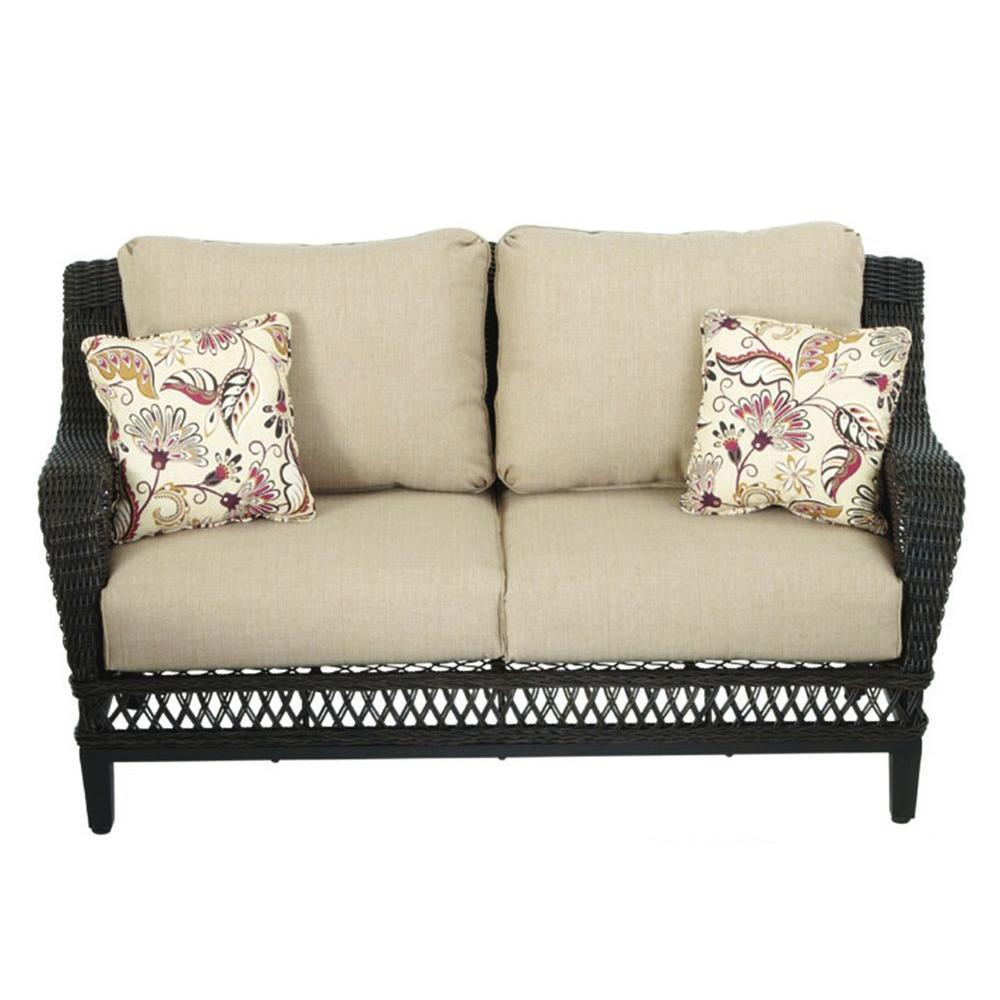 Hampton Bay Woodbury All Weather Wicker Outdoor Patio Loveseat With  Textured Sand Cushion