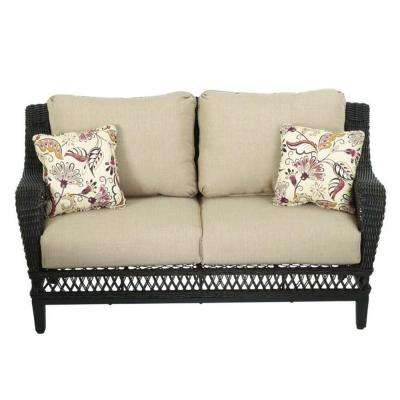 Woodbury All-Weather Wicker Outdoor Patio Loveseat with Textured Sand Cushion