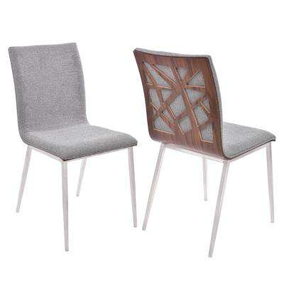 Crystal 33 in. Gray Fabric and Brushed Stainless Steel Finish Dining Chair (Set of 2)