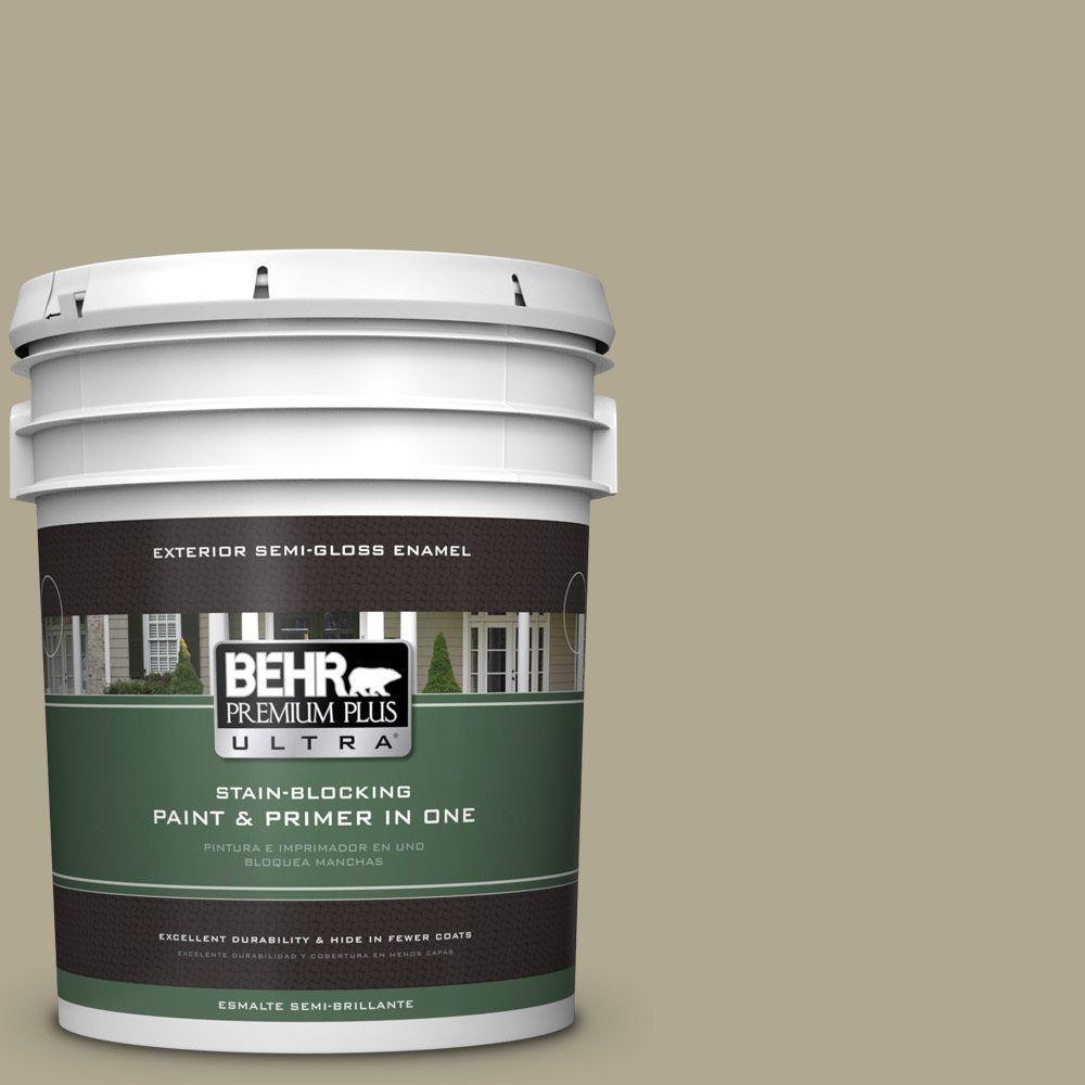 BEHR Premium Plus Ultra 5-gal. #BXC-22 Field Khaki Semi-Gloss Enamel Exterior Paint