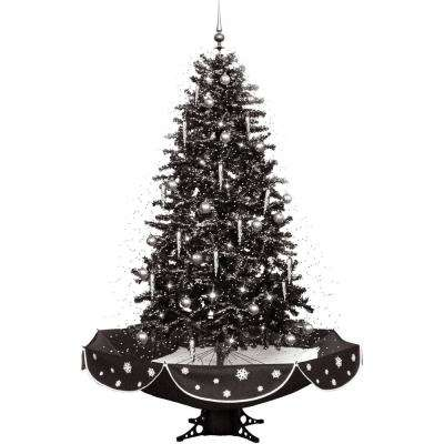 snowing musical christmas tree in black and silver with snow function