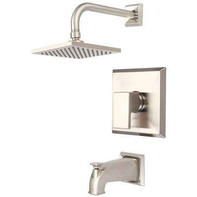 Mod 1-Handle Tub and Shower Trim Kit in Brushed Nickel with 6 in. Square Showerhead (Valve Not Included)