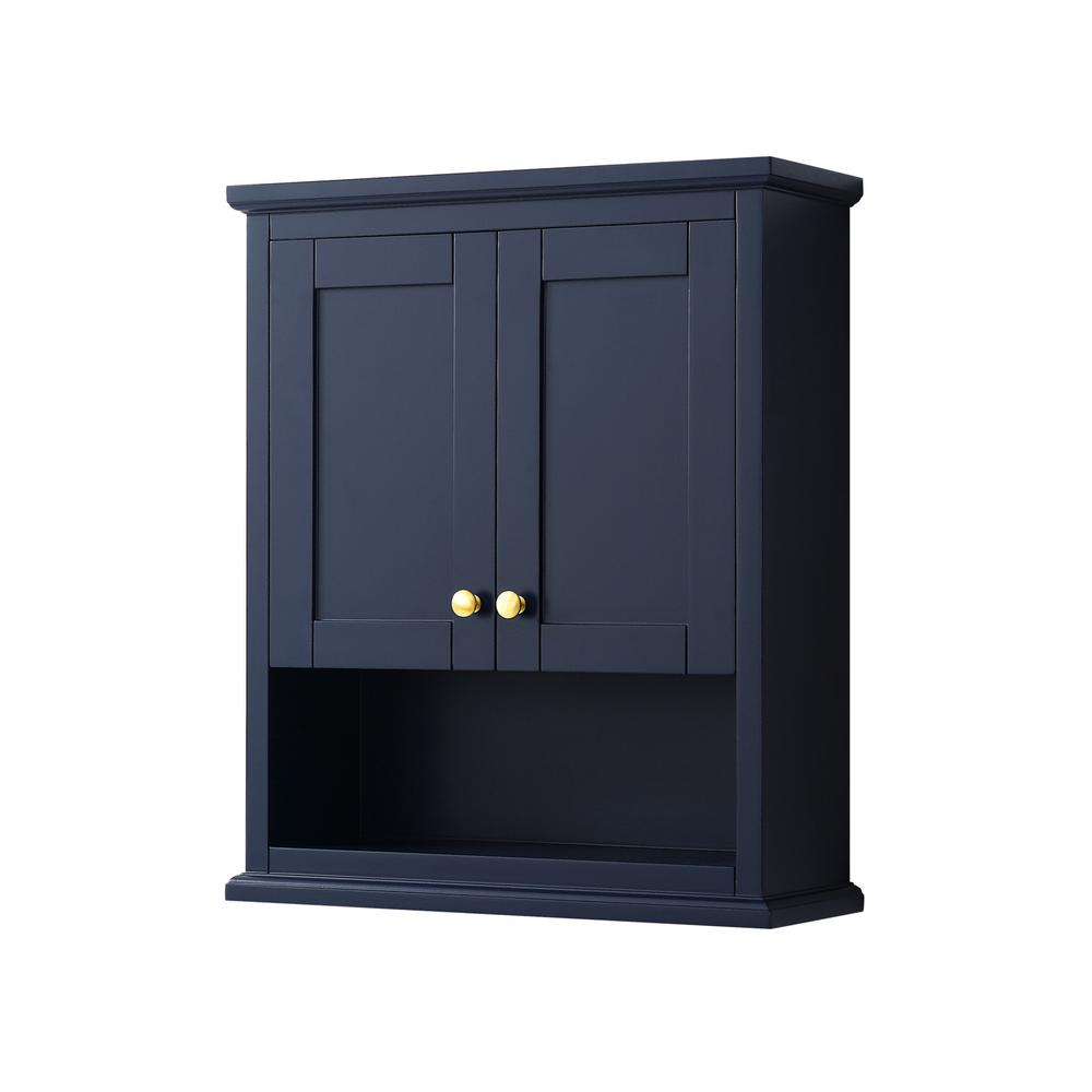 Wyndham Collection Avery 25 In W Bathroom Storage Wall Cabinet In Dark Blue Wcv2323wcbl The Home Depot