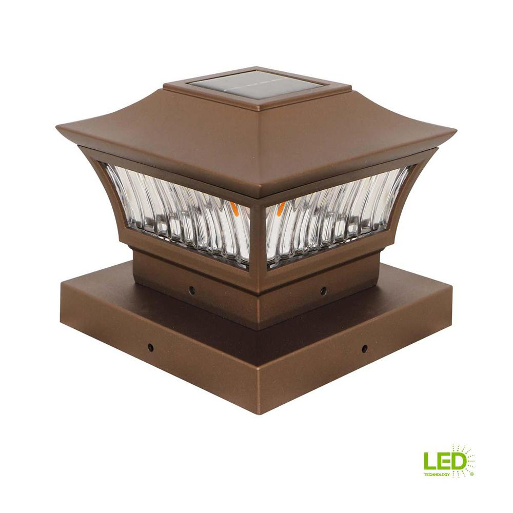 Outdoor Golden Bronze Solar Integrated Led Post Light