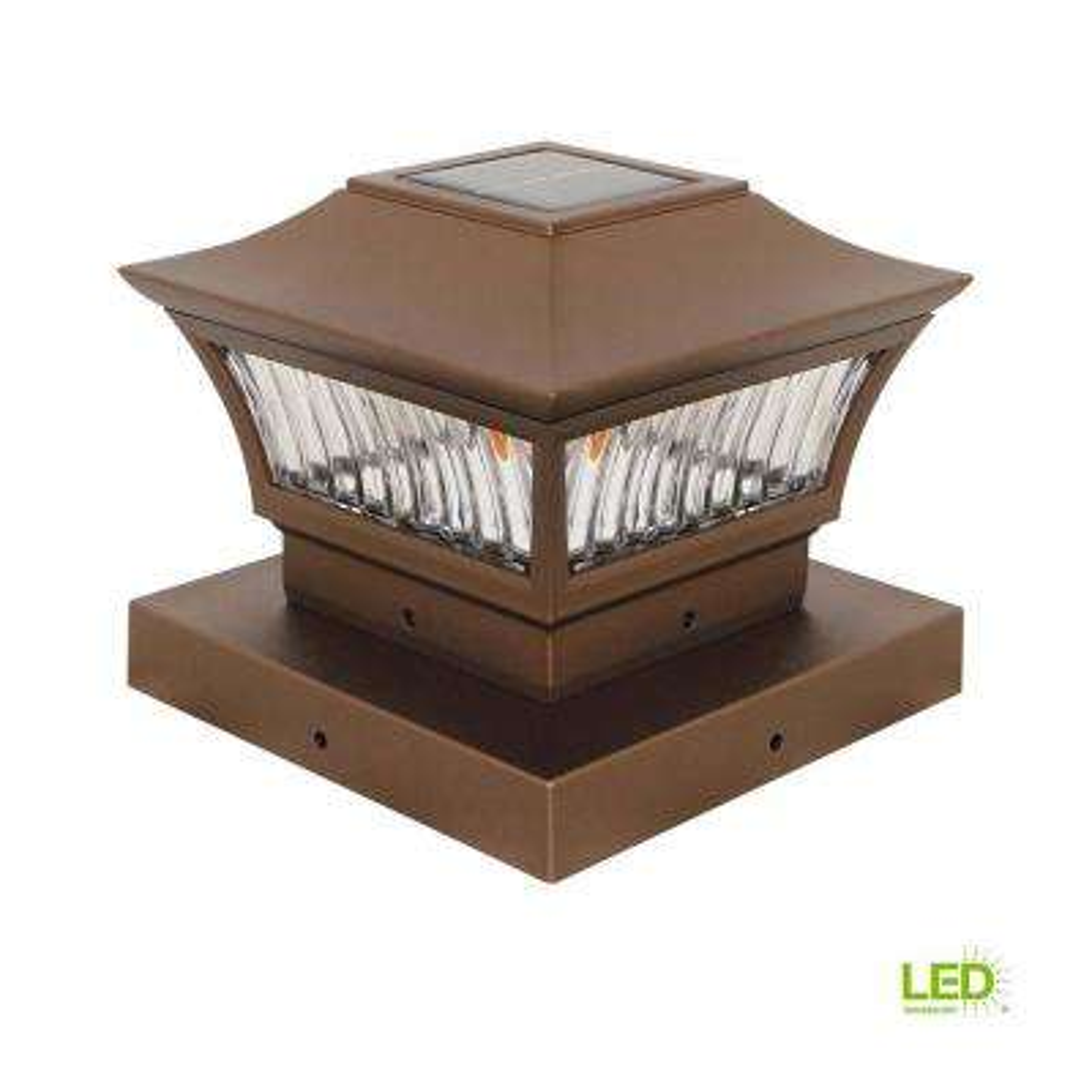 6 in. x 6 in. Outdoor Golden Bronze Solar Integrated LED Post Light