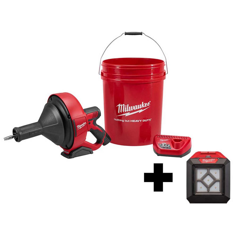 Milwaukee M12 12-Volt Lithium-Ion Cordless Auger Snake Drain Cleaning Kit with Free 1000 Lumens M12 Flood Light was $328.0 now $224.1 (32.0% off)