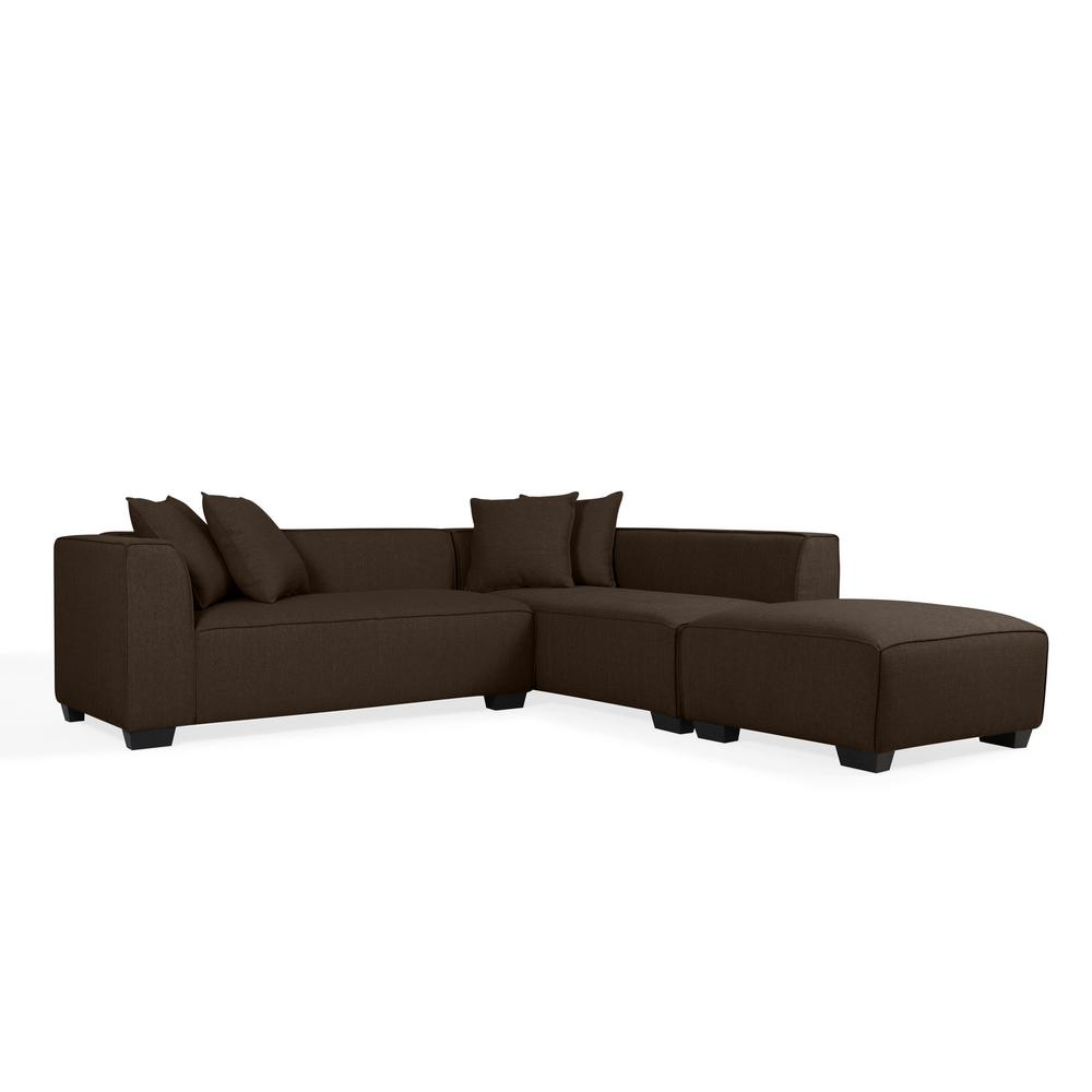 Handy Living Chocolate Brown Linen Seater Lshaped Rightfacin Sectional 19340