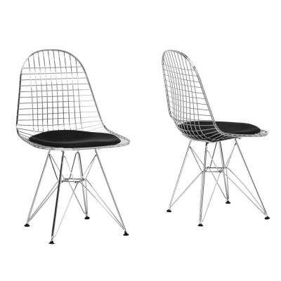 Avery Chrome Steel Wire Dining Chairs (Set of 2)