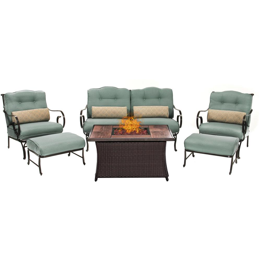 Oceana 6-Piece Patio Seating Set with Wood Grain-Top Fire Pit and