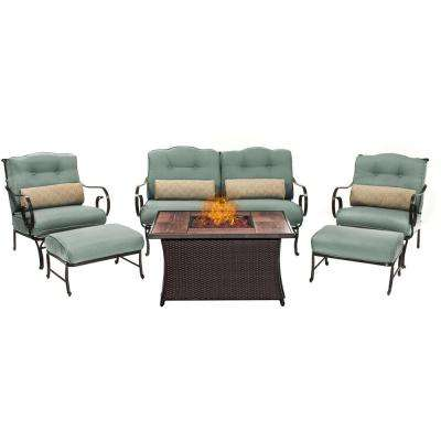Oceana 6-Piece Patio Seating Set with Wood Grain-Top Fire Pit and Ocean Blue Cushions