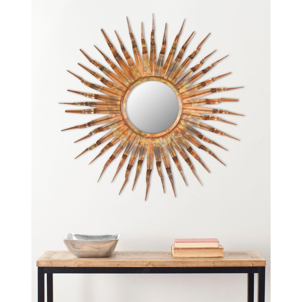 Safavieh Sun 37 in. x 37 in. Iron and Glass Framed Mirror-MIR3007A ...