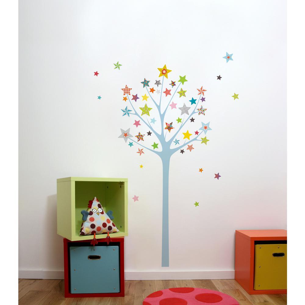 Adzif (43.6 in x 64.7 in) Multi-Color ''Star Tree'' Kids Wall