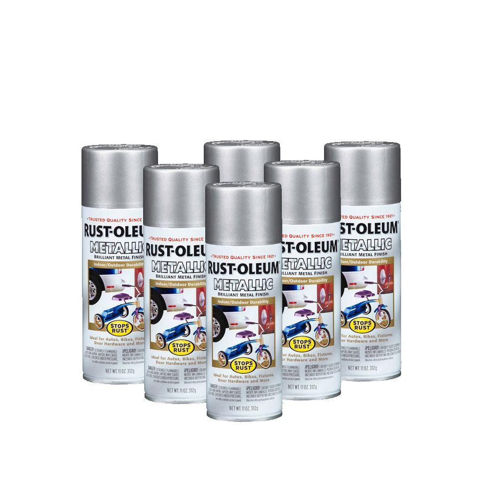 Rust-Oleum Stops Rust 11 oz. Gloss Silver Metallic Spray Paint (6-Pack)-DISCONTINUED