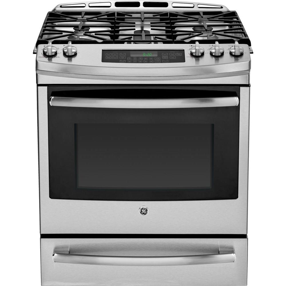 GE Profile 5.6 cu. ft. Slide-In Gas Range with Self-Cleaning Convection Oven in Stainless Steel