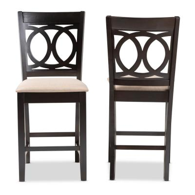 Lenoir 43 in. Sand Brown and Espresso Bar Stool (Set of 2)