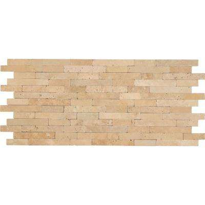 Chiaro Veneer 8 in. x 18 in. x 10mm Tumbled Travertine Mesh-Mounted Mosaic Tile (10 sq. ft. / case)
