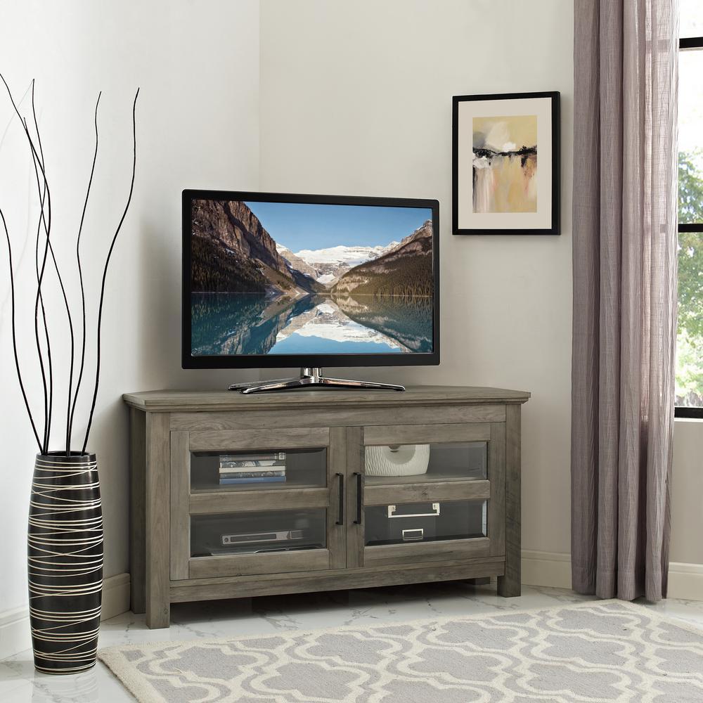 Walker Edison Furniture Company 44 In. Grey Wash Corner Wood TV Console