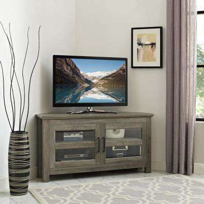Grey Wash Corner Wood TV Console