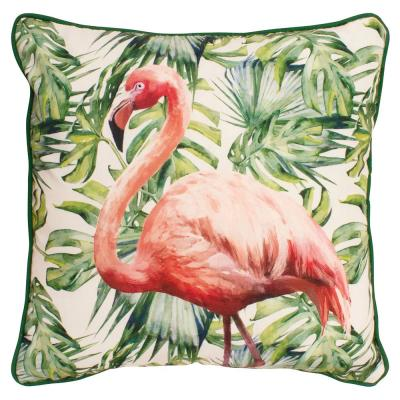 Flamingo Paradise Green and Pink Floral Down 18 in. x 18 in. Throw Pillow