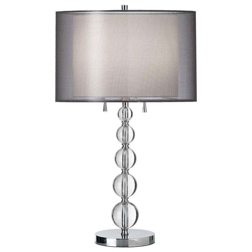 Filament Design Catherine 30 in. Incandescent Polished Chrome Table Lamp with White Linen Shades