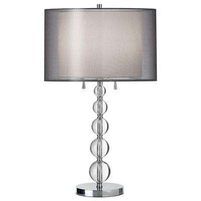 Catherine 30 in. Incandescent Polished Chrome Table Lamp with White Linen Shades