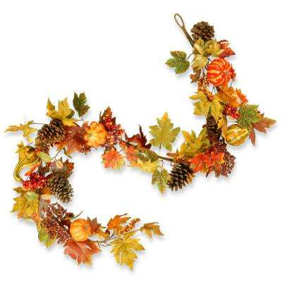 72 in. Maple Garland with Pumpkins