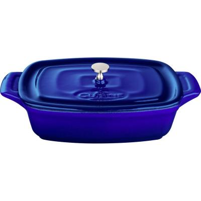 Range Collection 0.69 qt. Rectangular Cast Iron Casserole Dish in High Gloss Sapphire with Lid