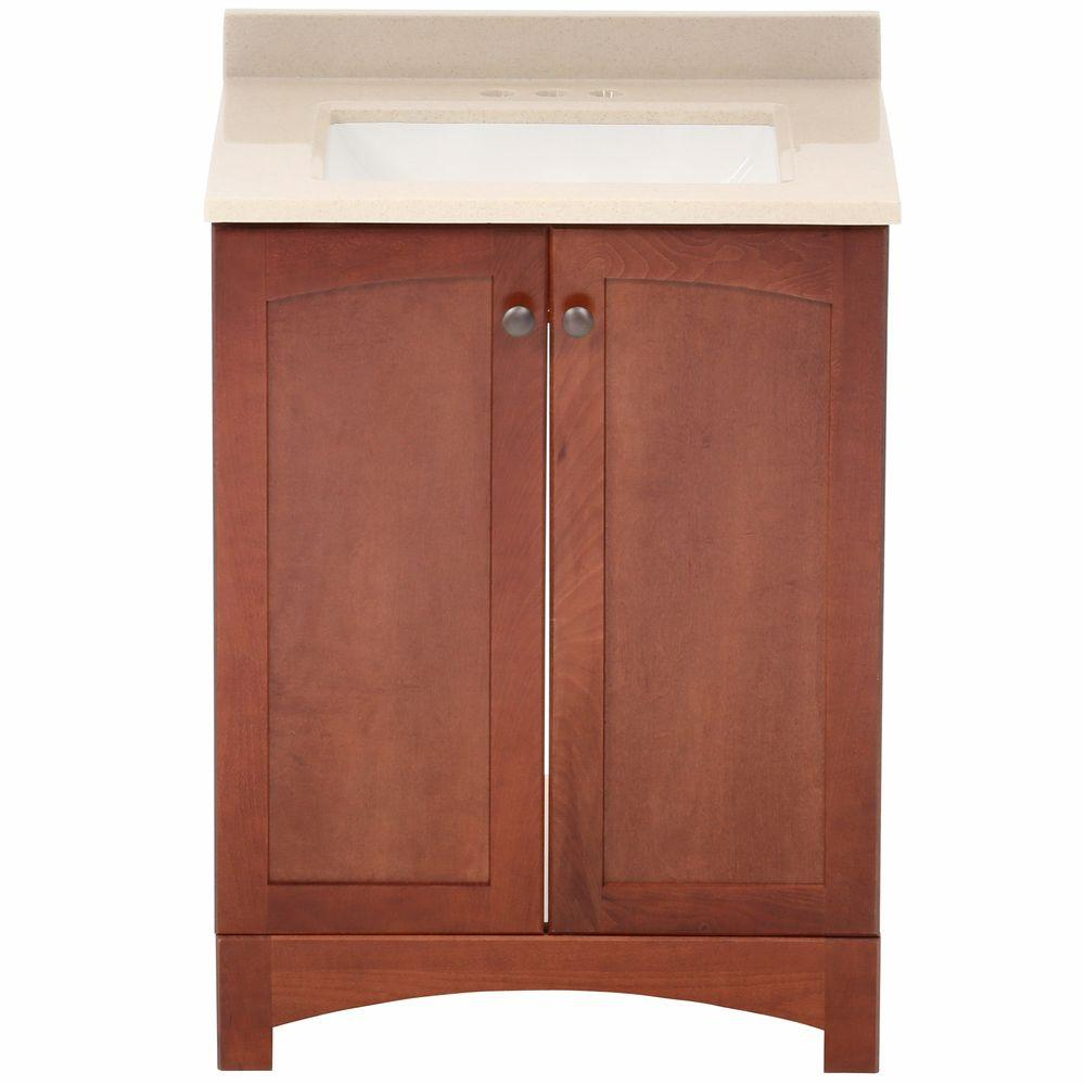 Glacier Bay Melborn 24.5 in. W Bath Vanity in Chestnut with Solid Surface Technology Vanity Top in Wheat with White Sink