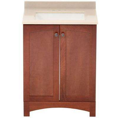 Melborn 24.5 in. W Bath Vanity in Chestnut with Solid Surface Technology Vanity Top in Wheat with White Sink