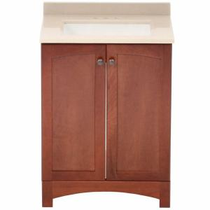 Glacier Bay Melborn 24.5 inch W Bath Vanity in Chestnut with Solid Surface Technology Vanity Top in Wheat with White... by Glacier Bay