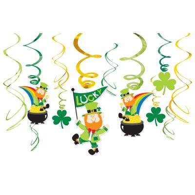 St. Patrick's Day Foil Leprechaun Swirl Decoration Assortment (12-Count, 3-Pack)