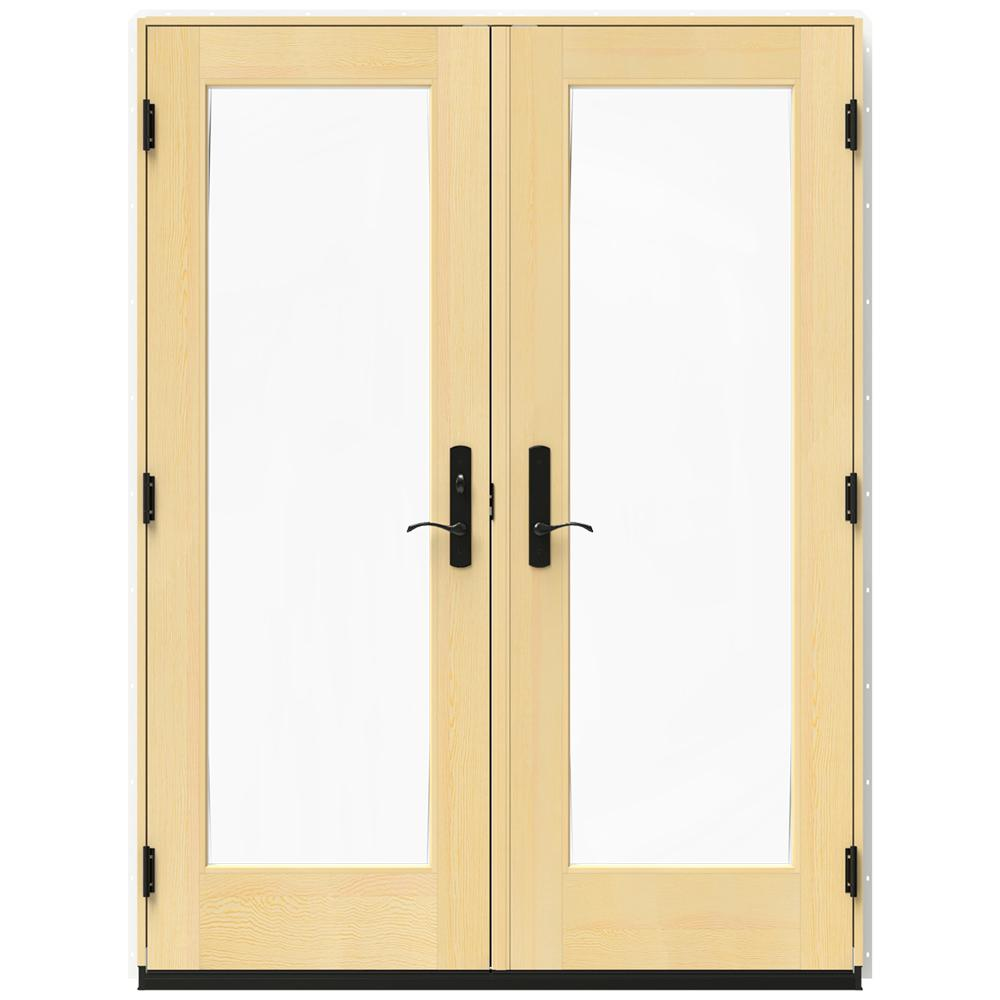 Jeld Wen 60 In X 80 In W 4500 White Clad Wood Right Hand Full Lite French Patio Door W