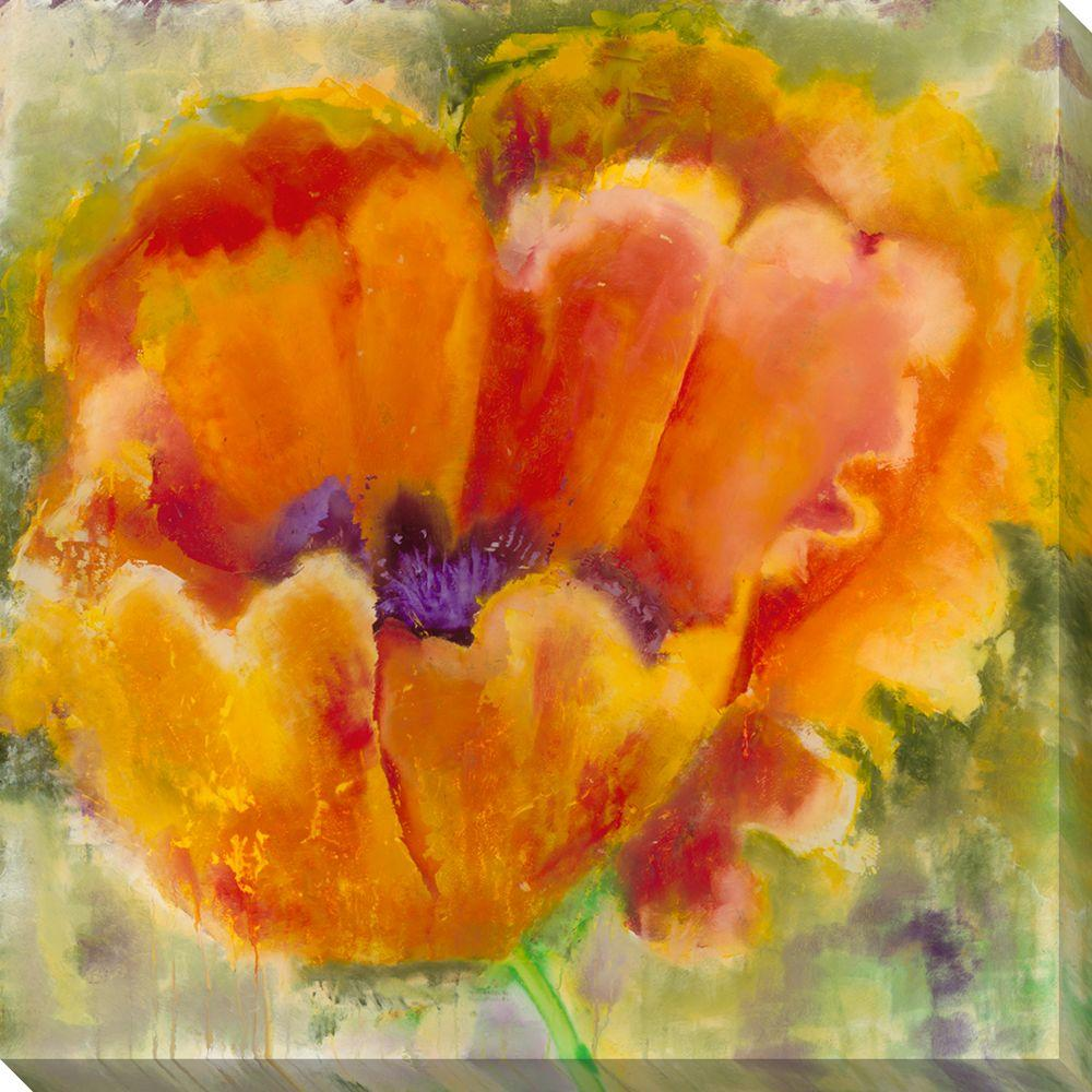 NEP Art 40 in. x 40 in. Blossom on Green Oversized Canvas Gallery Wrap