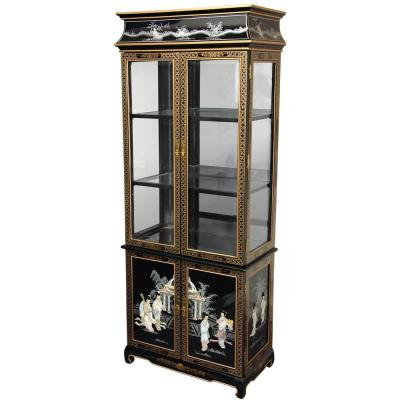 Oriental Furniture Black Mother of Pearl Ladies Lacquer Curio Cabinet