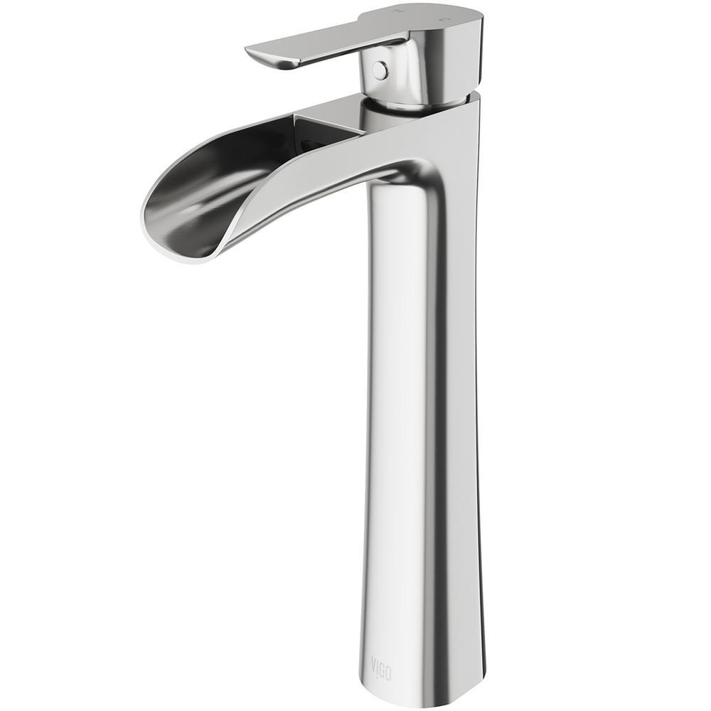 Vigo Niko Single Hole Handle Vessel Bathroom Faucet In Brushed Nickel