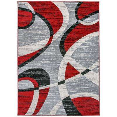 "Contemporary Modern Shapes Area Rug 7'10"" x 10' Red"