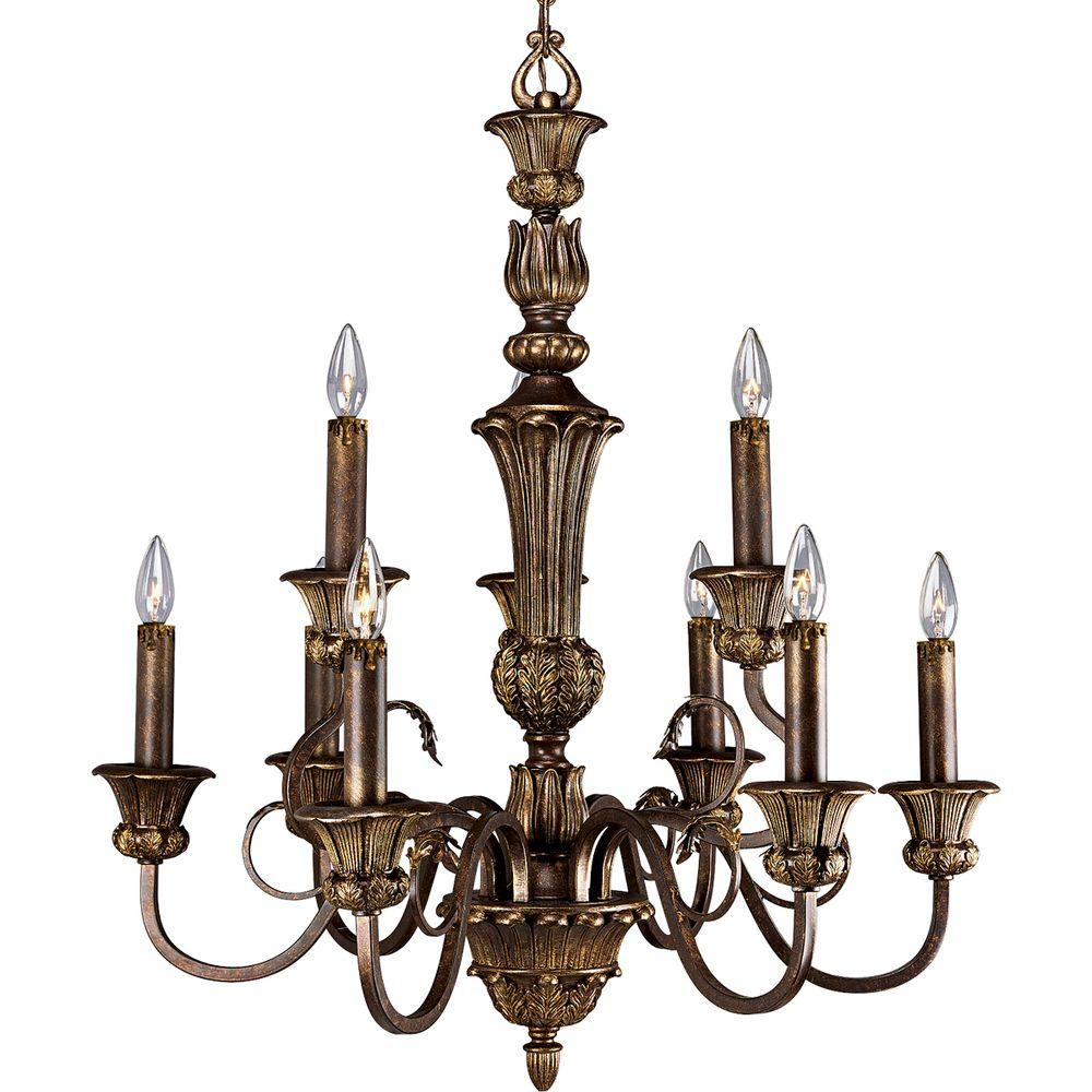 Thomasville Lighting La Serena Collection Aged Mahogany 9-light Chandelier-DISCONTINUED
