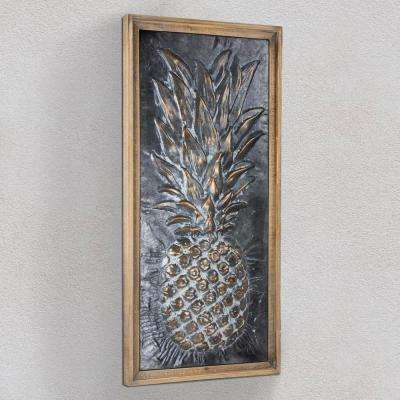 Metal Pineapple Framed Wall Art