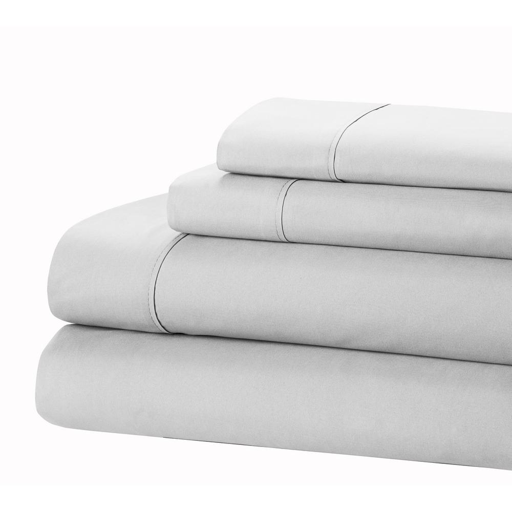 HOMEDYNAMIX Home Dynamix 4-Piece Silver Solid Microfiber Queen Sheet Set
