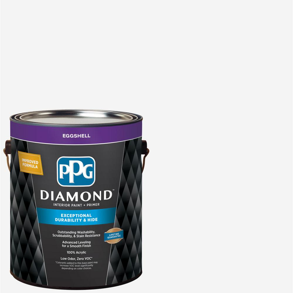 PPG Diamond 1 gal  Pure White Eggshell Interior Paint and Primer